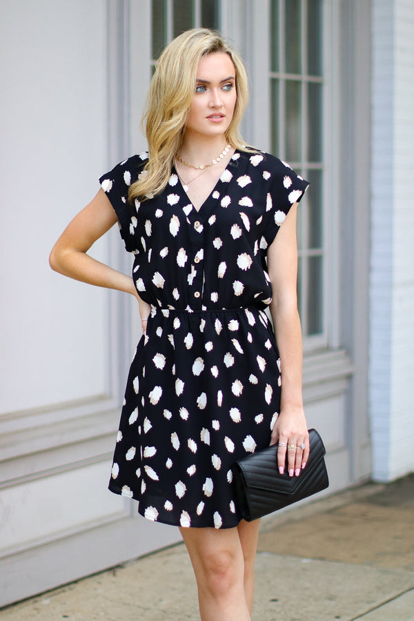 S / Black Call It What You Want Printed Dress - FINAL SALE - Madison + Mallory