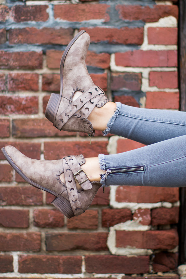 Distressed Cutout Booties - Madison + Mallory