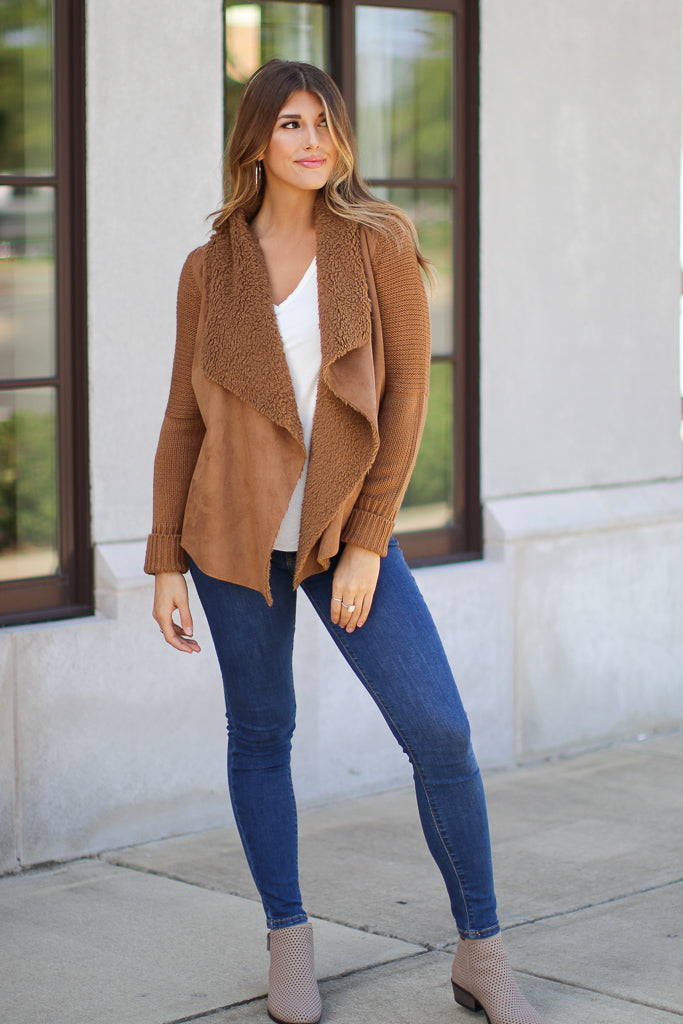 Keira Draped Suede Jacket - Madison + Mallory