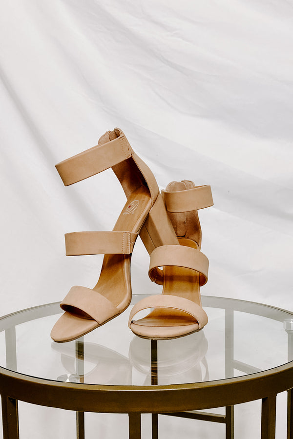Nude / 5.5 Apolline Faux Leather Strappy Heels - Madison and Mallory
