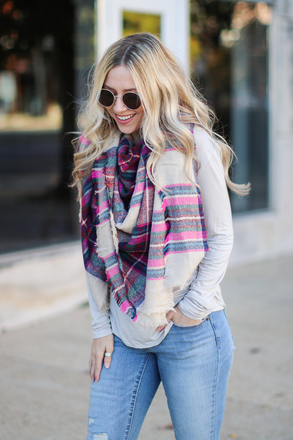OS / Fuchsia *DOORBUSTER* Fab First Plaid Scarf - Fuchsia - Madison + Mallory