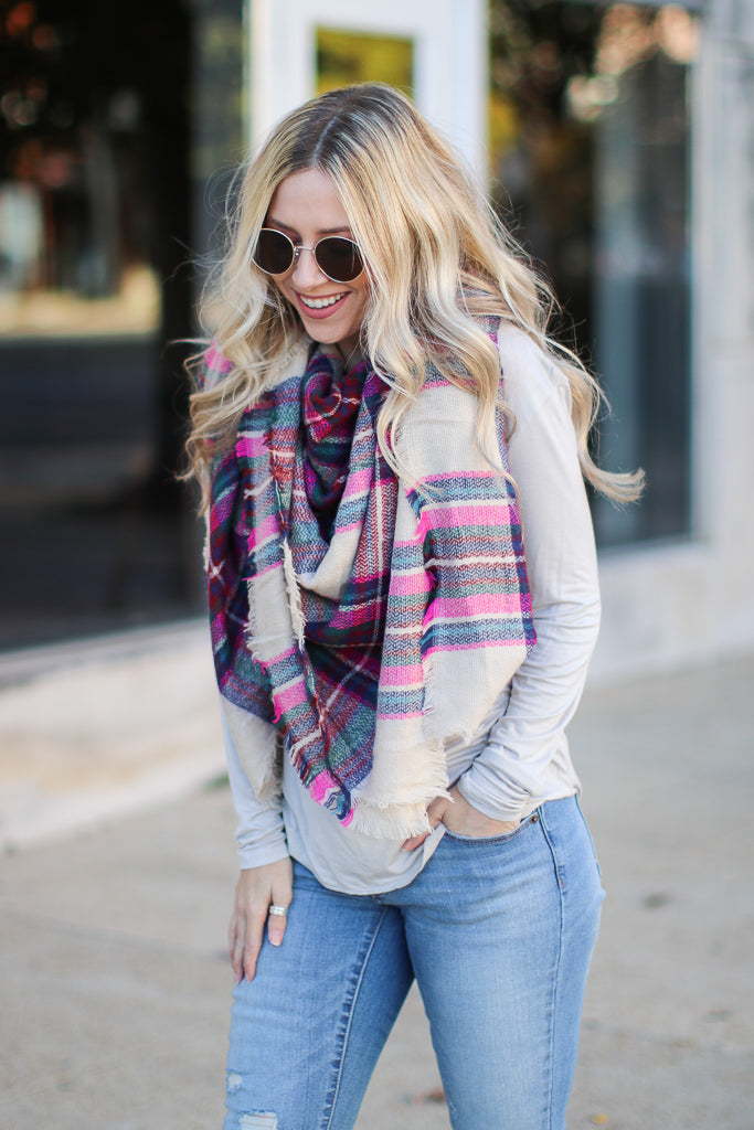 OS / Fuchsia Fab First Plaid Scarf - Madison + Mallory