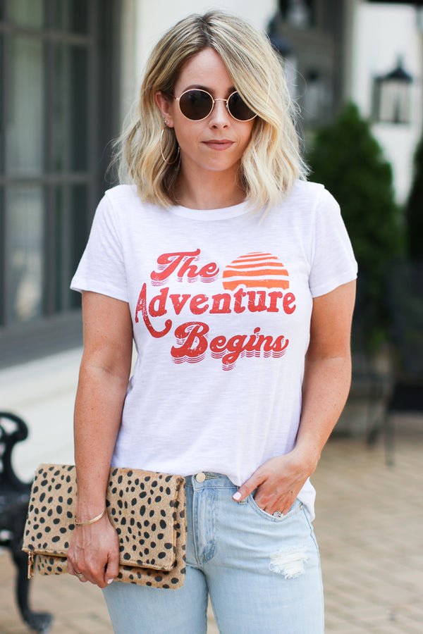 The Adventure Begins Graphic Top - Madison + Mallory
