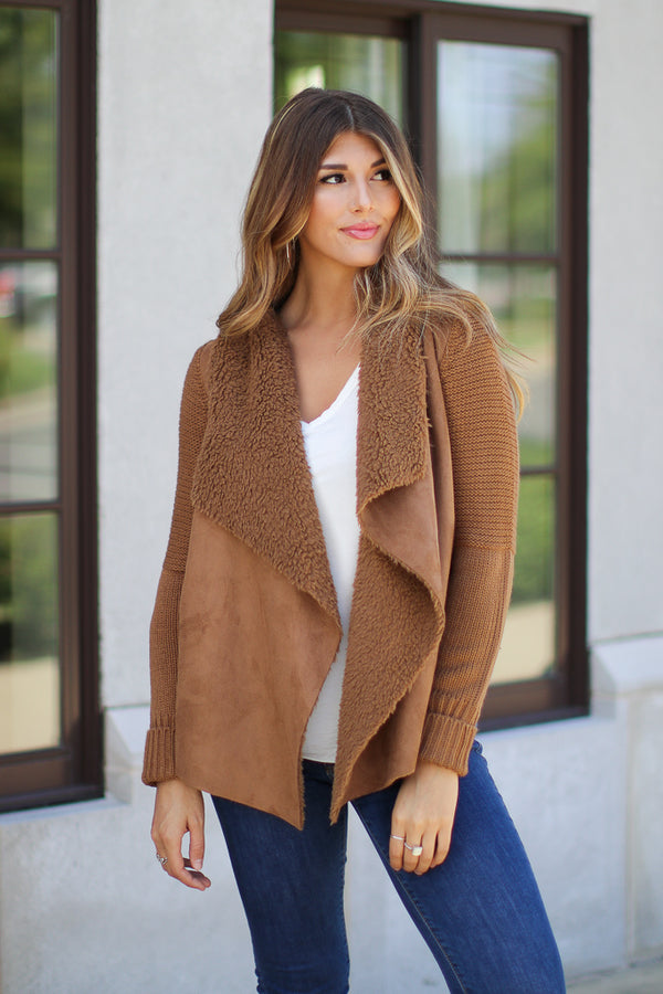 S / Camel Keira Draped Suede Jacket - Camel - Madison + Mallory