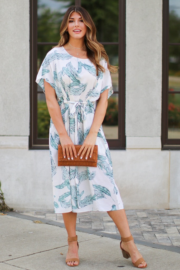 SM / Ivory Surprise Getaway Tropical Print Dress - Madison + Mallory