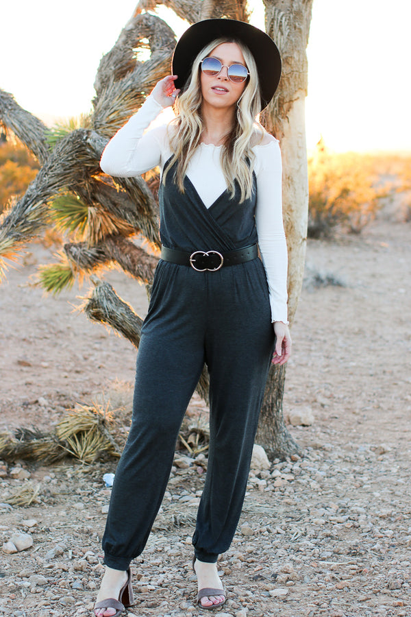 S / Charcoal Bryant Surplice Jumpsuit - Madison + Mallory