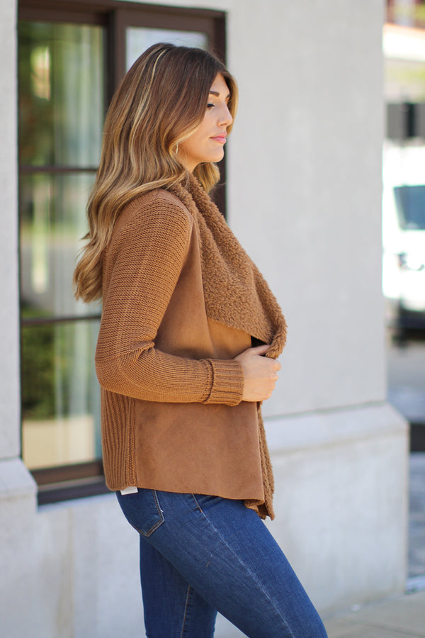 Keira Draped Suede Jacket - Camel - Madison + Mallory