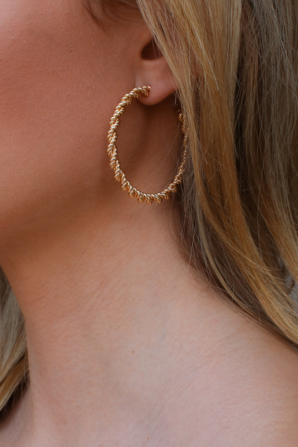 Gold Arvilla Twisted Hoop Earrings - Madison + Mallory