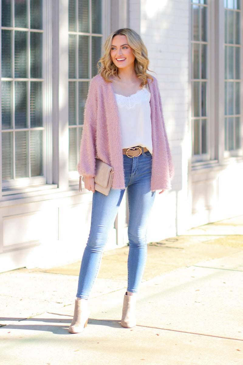 Crystalline Eyelash Knit Cardigan - Blush - Madison and Mallory