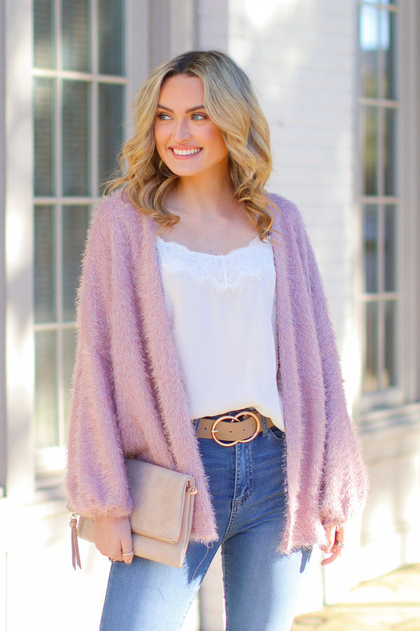 Blush / S Crystalline Eyelash Knit Cardigan - Blush - Madison and Mallory