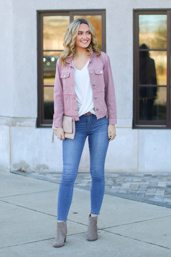 Paramour Distressed Denim Jacket - Madison and Mallory