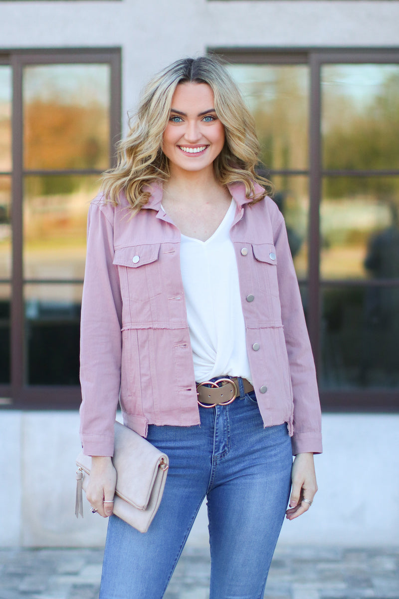 S / Mauve Paramour Distressed Denim Jacket - Madison + Mallory