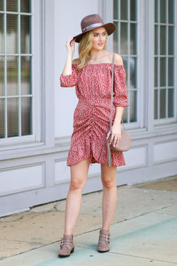 M / Red Show You the Way Off Shoulder Floral Dress - FINAL SALE - Madison and Mallory