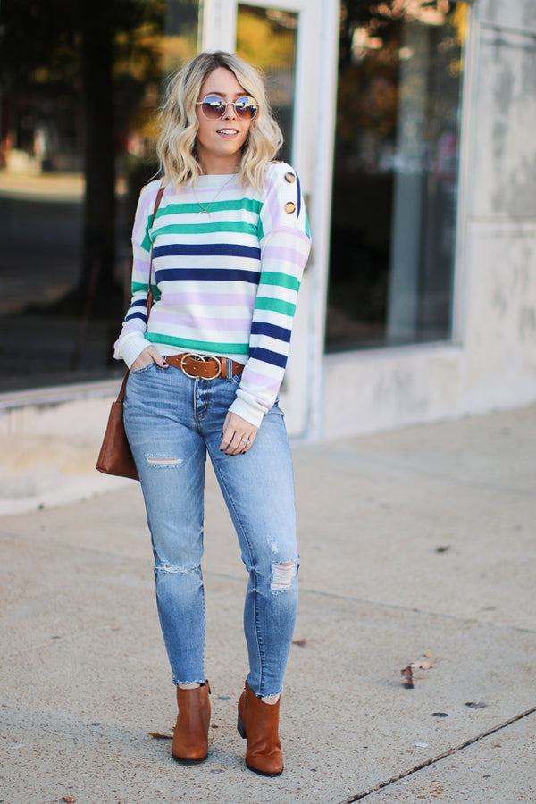 S / Navy Carlson Striped Button Detail Top - Madison + Mallory
