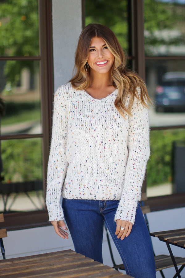 S / Ivory Party Time Rainbow Dot Sweater - Madison + Mallory