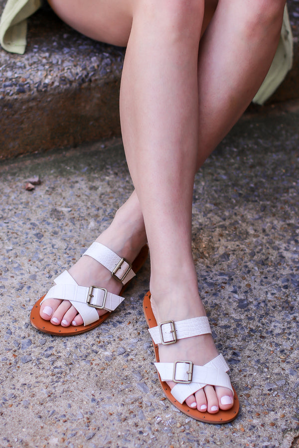 5.5 / Off White Wild and Wonderful Buckle Strappy Slide Sandals - Madison and Mallory
