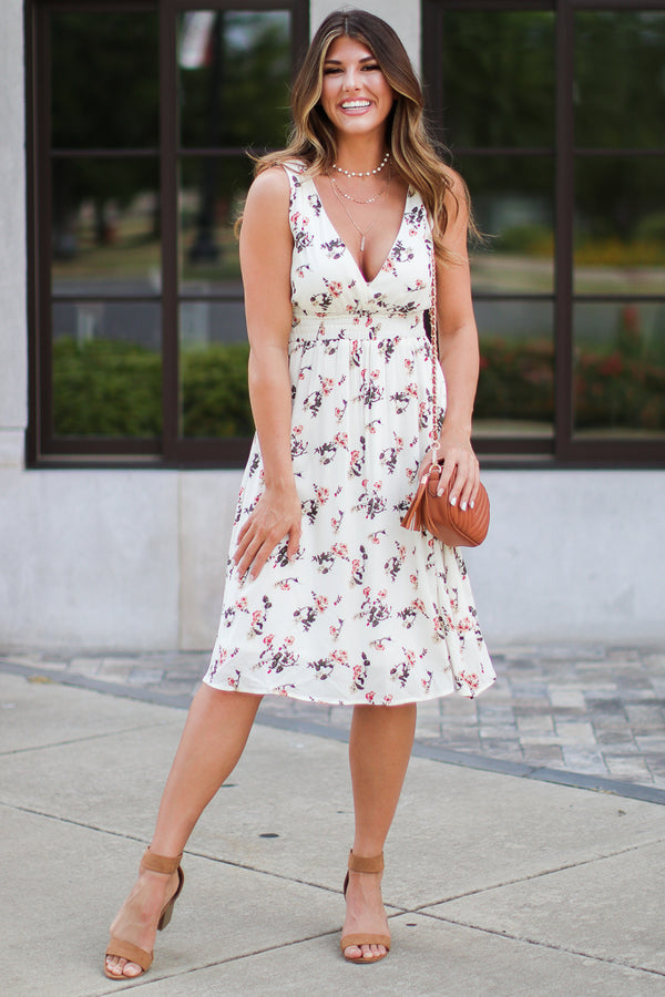 S / Ivory Always In Bloom Floral Dress - FINAL SALE - Madison + Mallory