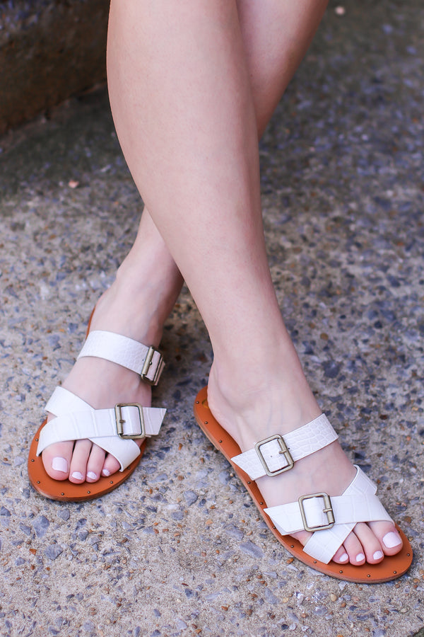 Wild and Wonderful Buckle Strappy Slide Sandals - Madison and Mallory
