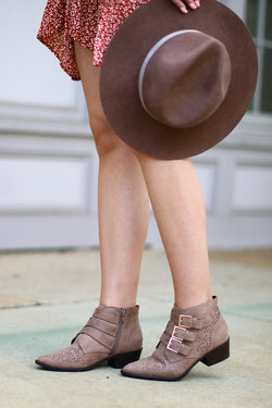 Buckle Down Laser Cut Booties - FINAL SALE - Madison and Mallory