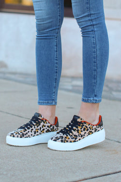 6 / Leopard Jonas Leopard Print Platform Sneakers - Madison and Mallory