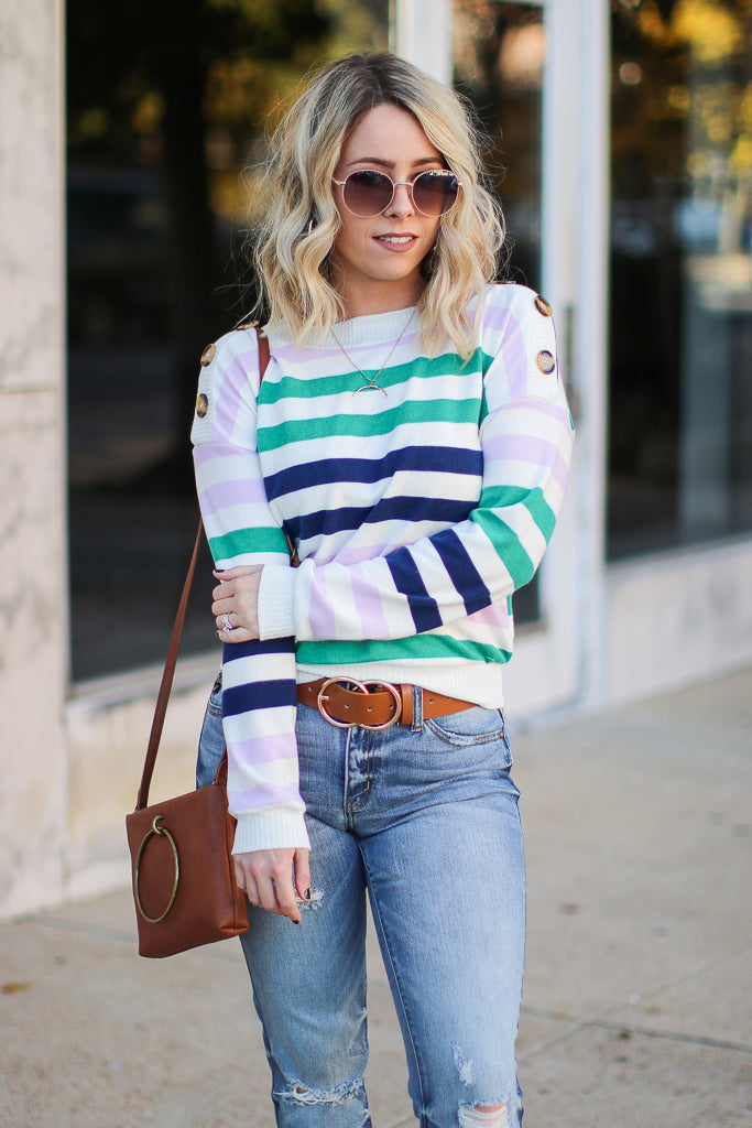 Carlson Striped Button Detail Top - Madison + Mallory