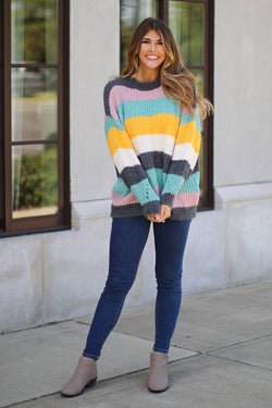 OS / Multi Bright Side Color Block Sweater - Madison + Mallory
