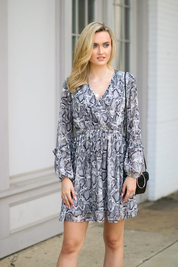 Fall Away Snake Print Ruffled Dress - FINAL SALE - Madison and Mallory