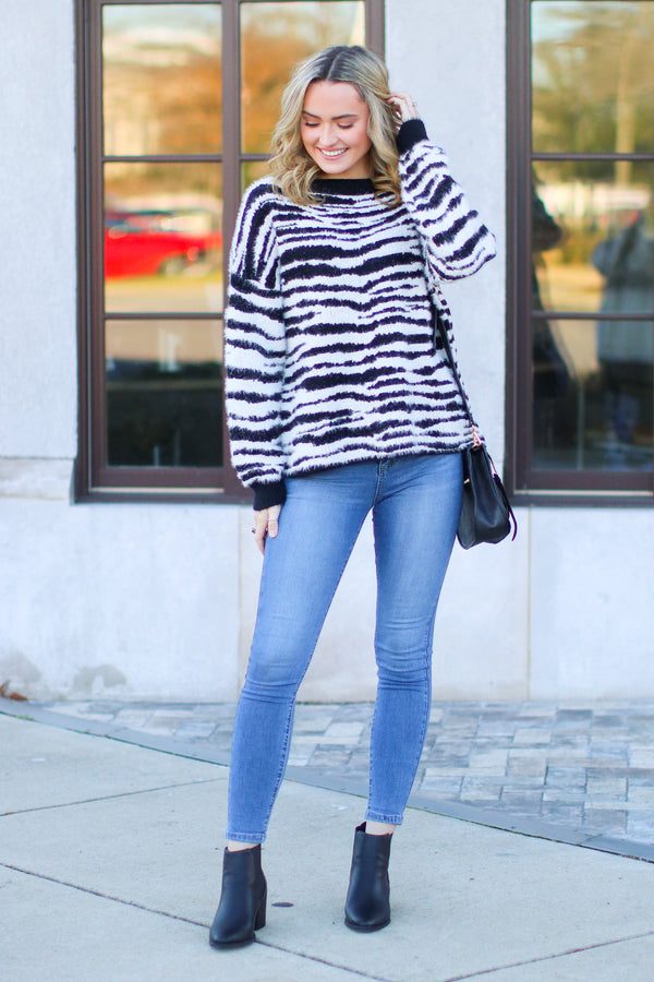 Wild Zebra Print Sweater - Black- FINAL SALE - Madison and Mallory
