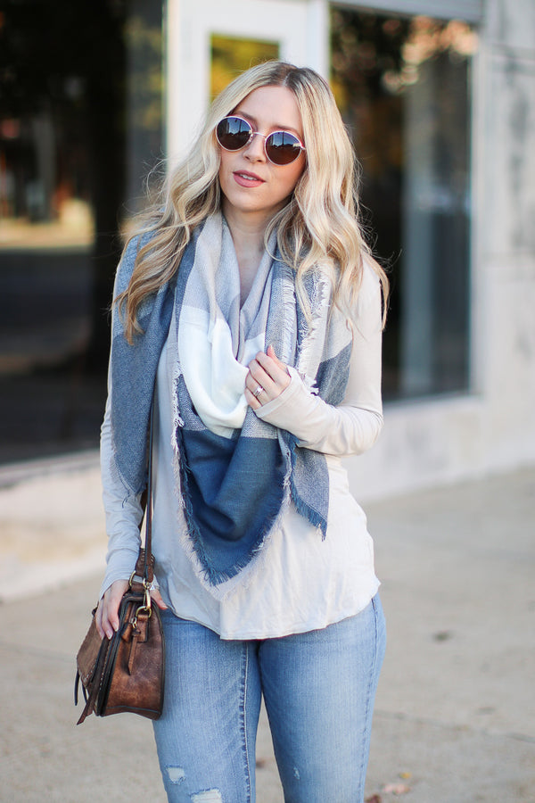 OS / Teal Keeping It Cozy Plaid Scarf + MORE COLORS - Madison + Mallory