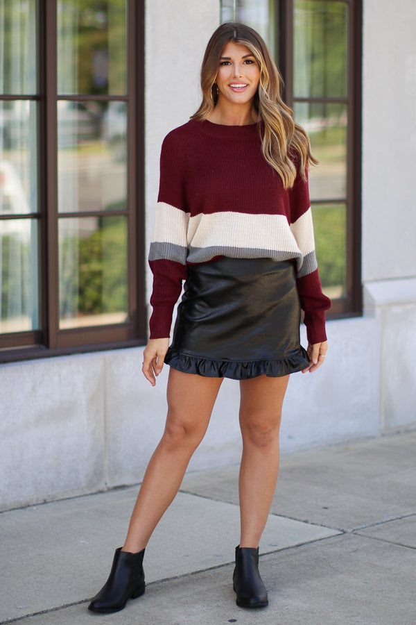 Faux Leather Ruffled Skirt - FINAL SALE - Madison + Mallory