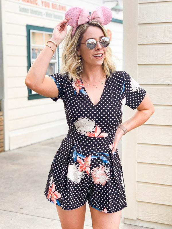 S / Black Jeanette Floral and Polka Dots Romper - Madison + Mallory