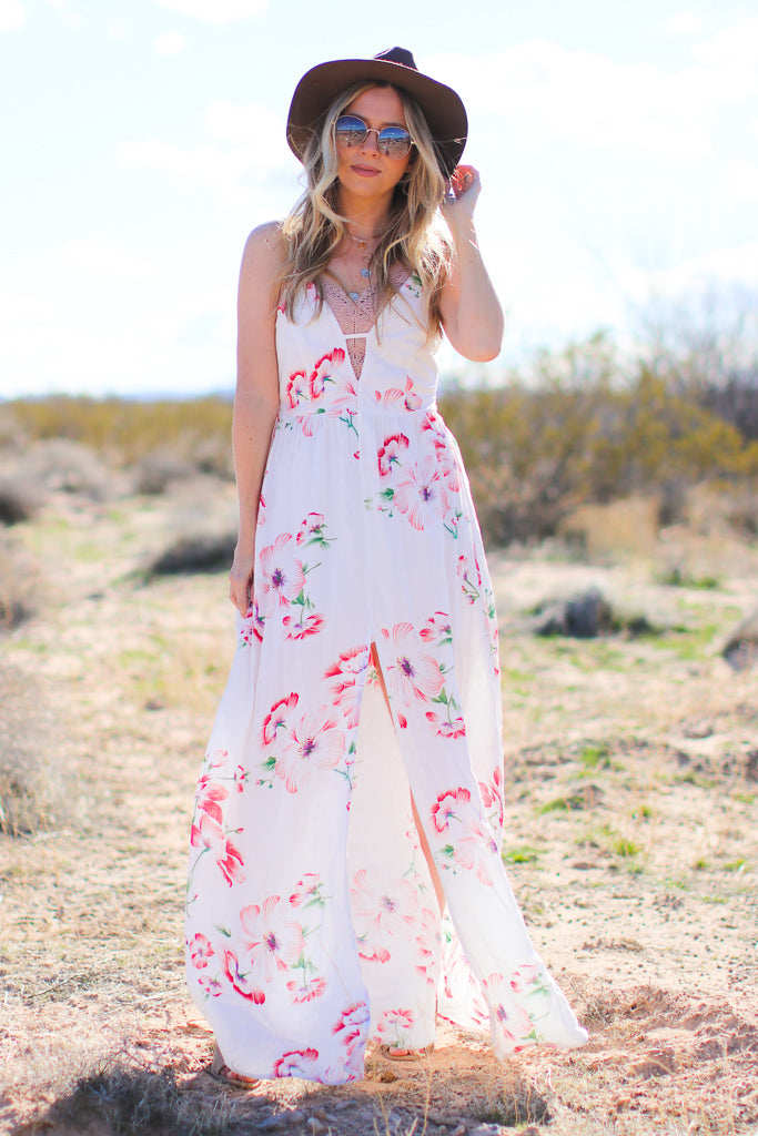 S / White Torey Floral Maxi Dress - FINAL SALE - Madison + Mallory