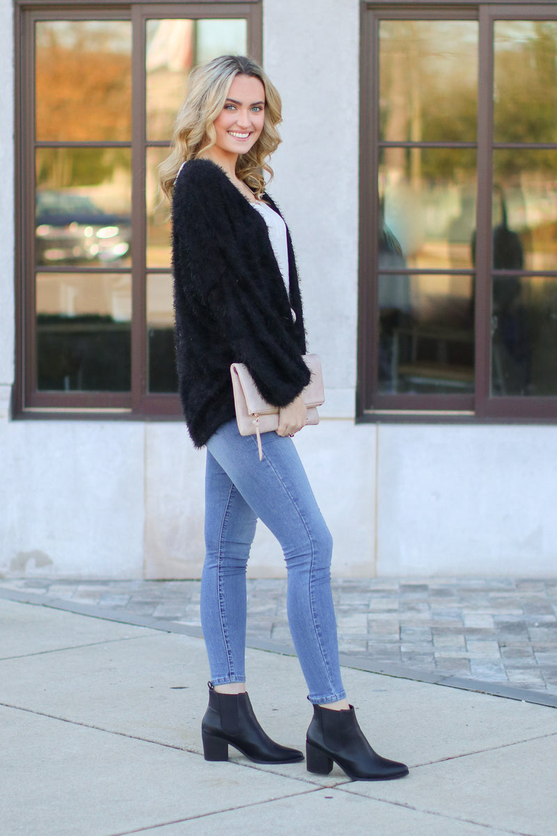 Crystalline Eyelash Knit Cardigan - Black - Madison and Mallory