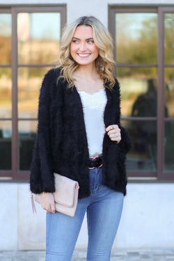 Black / S Crystalline Eyelash Knit Cardigan - Black - Madison and Mallory