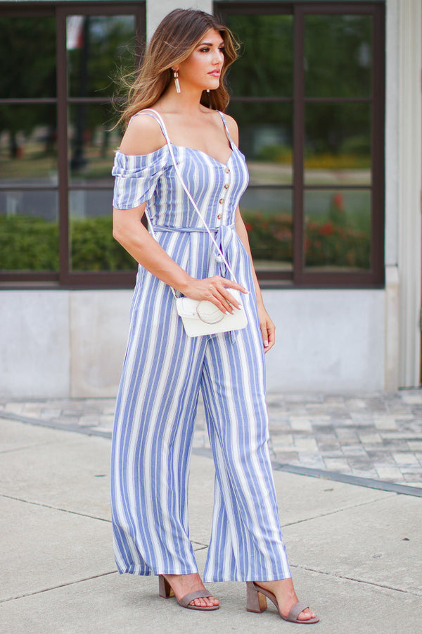 Rarity Striped Wide Leg Jumpsuit - Madison + Mallory