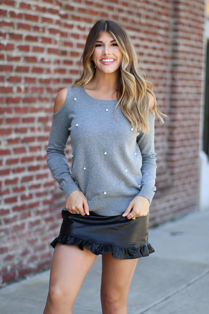 XS / Gray Cold Shoulder Pearl Detail Sweater - Madison + Mallory