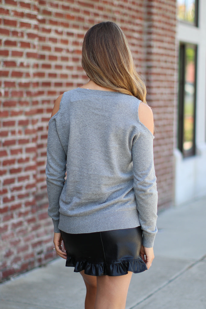 Cold Shoulder Pearl Detail Sweater - Madison + Mallory