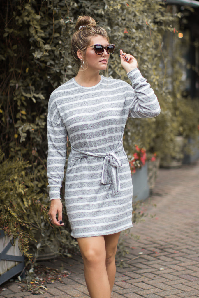 S / Gray Tied Up Striped Dress - Madison + Mallory