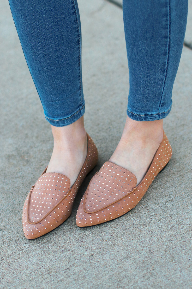 6 / Camel Fab Motivation Studded Loafers - Madison + Mallory