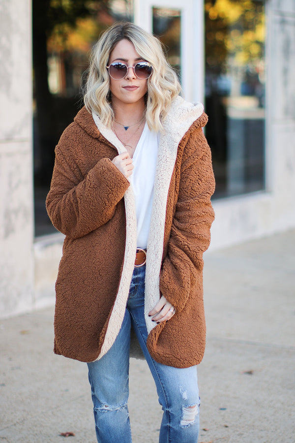 S / Khaki Crazy Cozy Faux Fur Jacket - Madison + Mallory