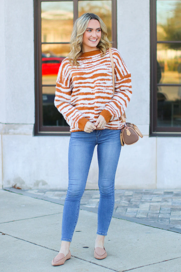 Wild Zebra Print Sweater - Caramel - FINAL SALE - Madison and Mallory