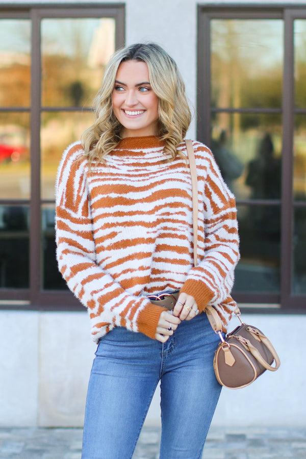 Caramel / S Wild Zebra Print Sweater - Caramel - FINAL SALE - Madison and Mallory