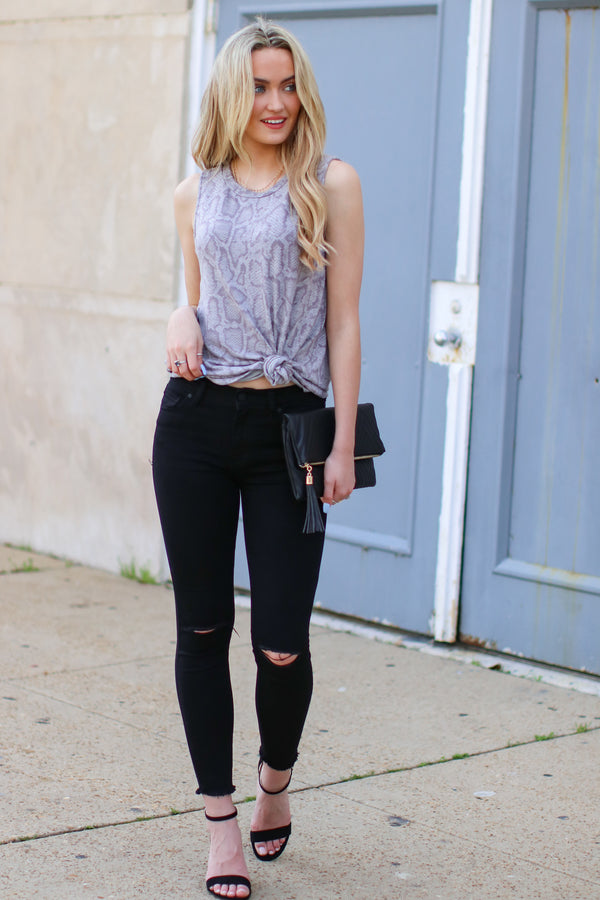 Symona Snake Print Tank - Madison and Mallory
