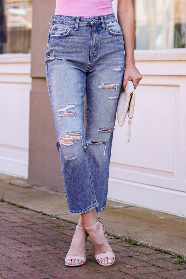 Harlyn High Rise Distressed Crop Straight Jeans - Madison and Mallory