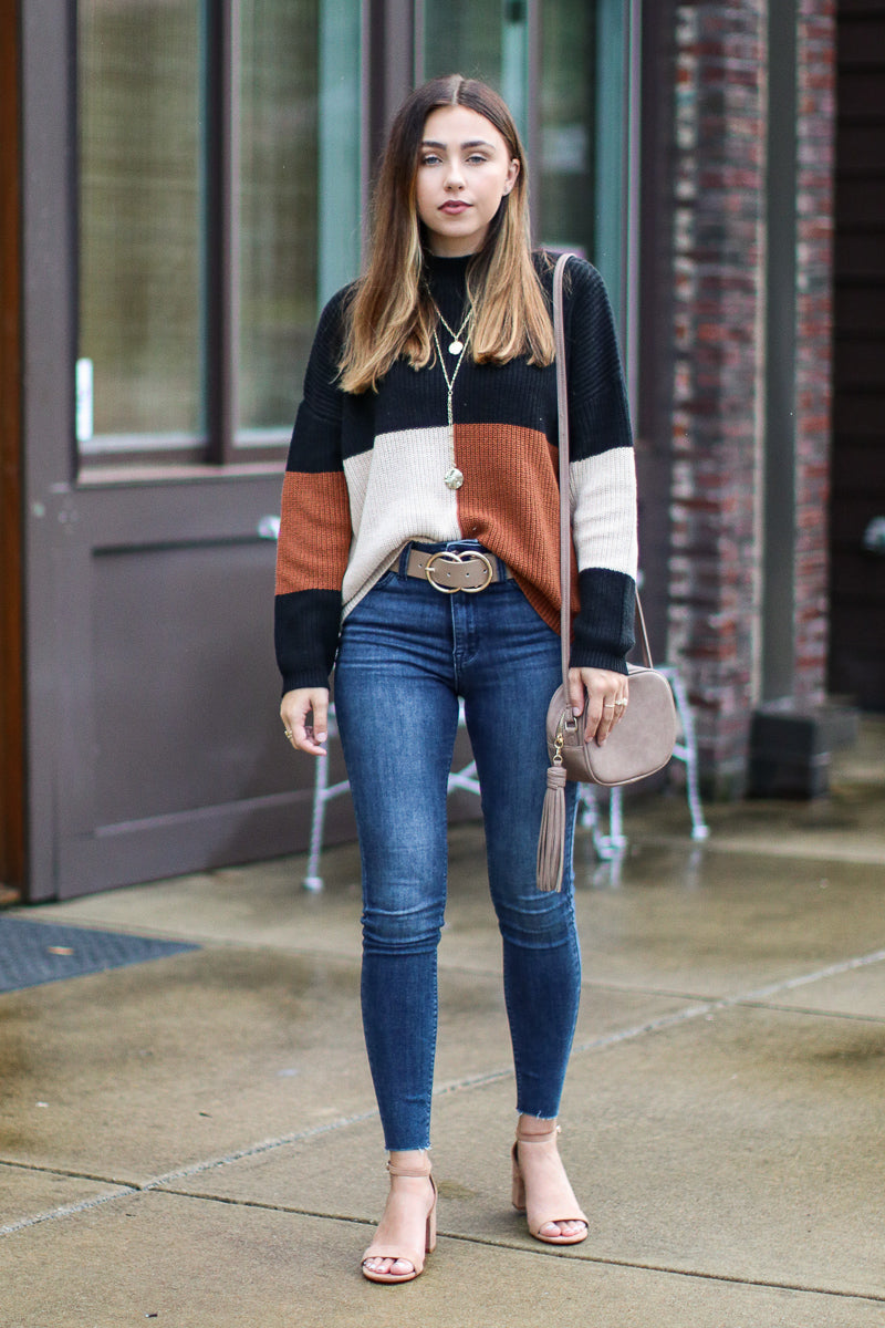 Warm Up Ready Color Block Sweater | CURVE - Madison + Mallory
