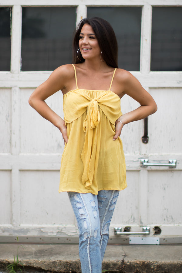 S / Yellow Hold Your Breath Tie Front Top - Madison + Mallory