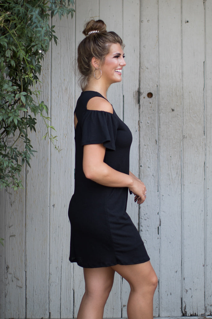 Cold Shoulder Crinkle Dress - Madison + Mallory