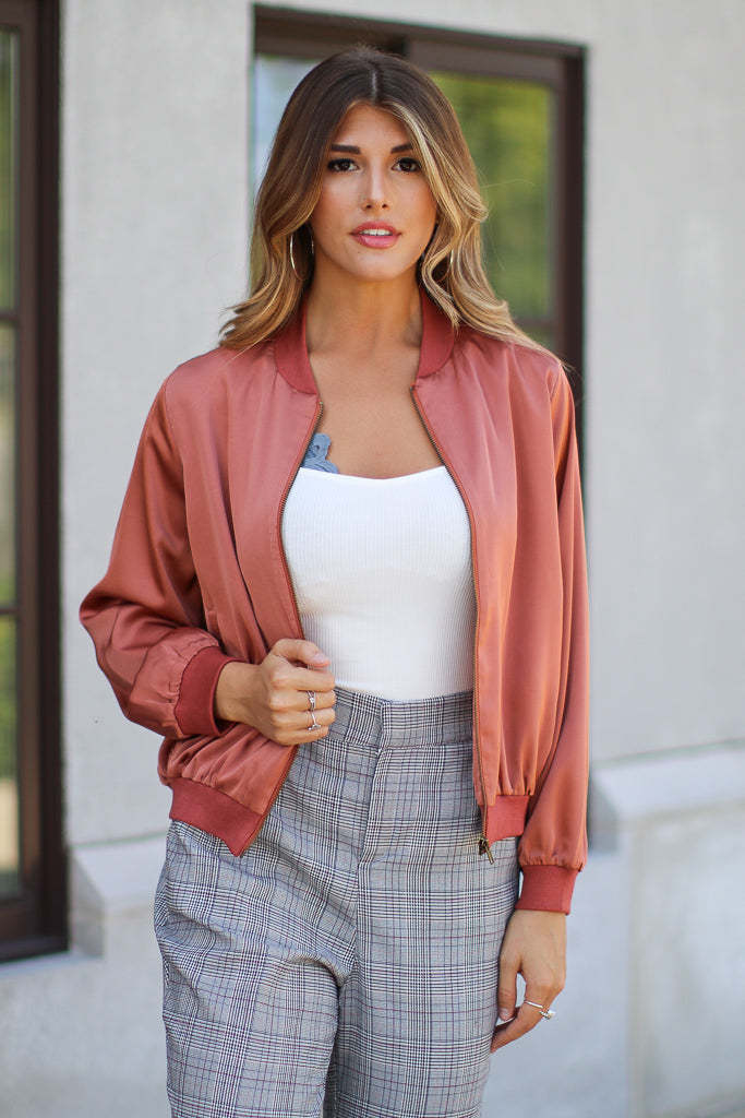 S / Rust Signature Look Satin Bomber - FINAL SALE - Madison + Mallory