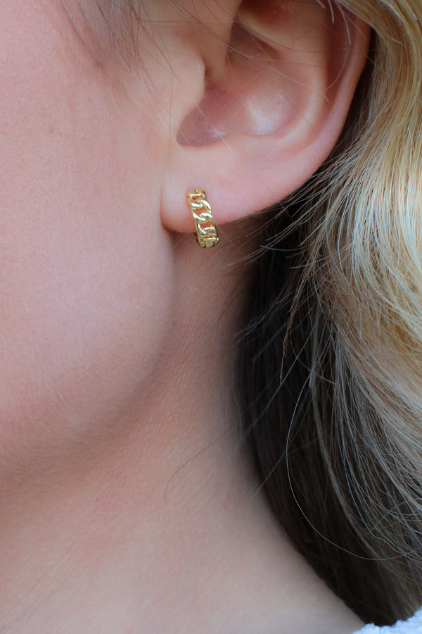 Gold Trinidad Chain Hoop Earrings - Madison + Mallory