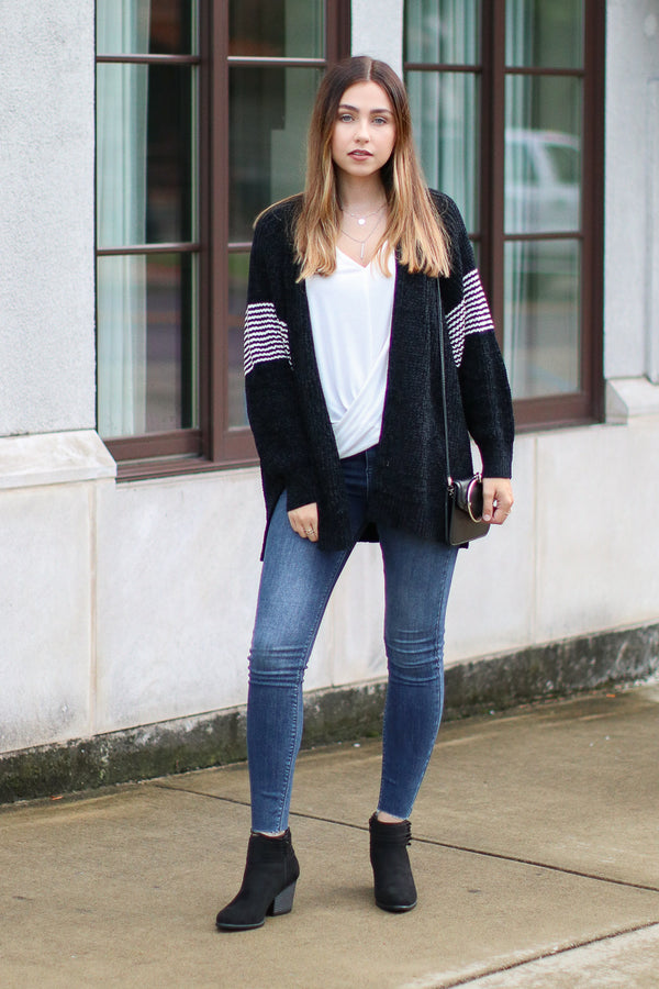 Black / S Banks Chenille Striped Accent Cardigan - Black - Madison + Mallory